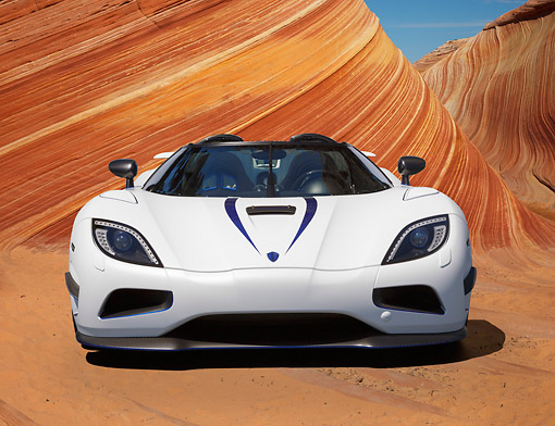 AUT 49 RK0006 01 © Kimball Stock 2013 Koenigsegg Agera R White Front View On Sand By Dunes