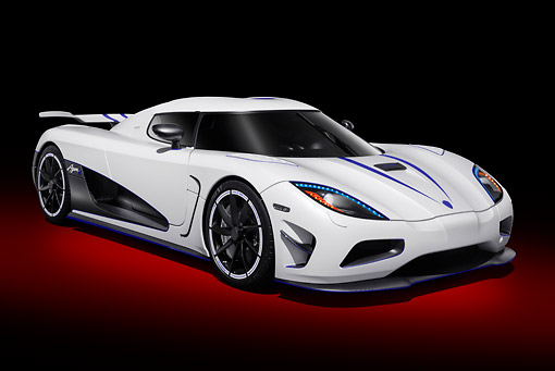 AUT 49 RK0008 01 © Kimball Stock 2013 Koenigsegg Agera R White 3/4 Front View In Studio