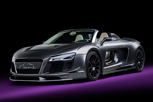 AUT 49 RK0020 01 © Kimball Stock 2013 Audi R8 Razor Spyder GTR By PPI Speed Design Silver 3/4 Front View In Studio