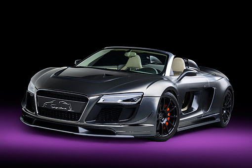 AUT 49 RK0021 01 © Kimball Stock 2013 Audi R8 Razor Spyder GTR By PPI Speed Design Silver 3/4 Front View In Studio