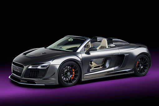 AUT 49 RK0022 01 © Kimball Stock 2013 Audi R8 Razor Spyder GTR By PPI Speed Design Silver Profile View In Studio