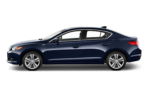 AUT 50 IZ0007 01 © Kimball Stock 2014 Acura ILX Hybrid 4-Door Sedan Dark Blue Profile View In Studio