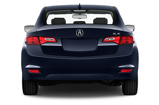 AUT 50 IZ0013 01 © Kimball Stock 2014 Acura ILX Hybrid Technology Package 4-Door Sedan Dark Blue Rear View