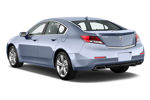 AUT 50 IZ0037 01 © Kimball Stock 2014 Acura TL 3.5 Advance Package 4-Door Sedan 3/4 Rear View In Studio