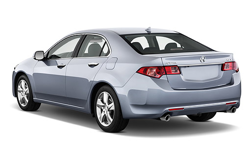 AUT 50 IZ0044 01 © Kimball Stock 2014 Acura TSX 5-Speed 4-Door Sedan Gray 3/4 Rear View In Studio
