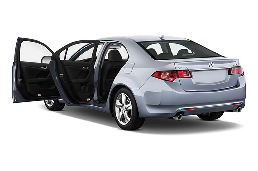 AUT 50 IZ0045 01 © Kimball Stock 2014 Acura TSX 5-Speed 4-Door Sedan Gray 3/4 Rear View In Studio