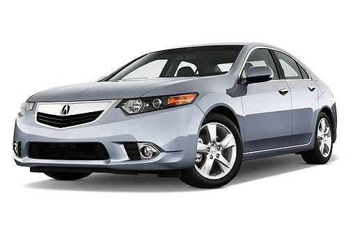 AUT 50 IZ0047 01 © Kimball Stock 2014 Acura TSX 5-Speed 4-Door Sedan Gray 3/4 Front View In Studio