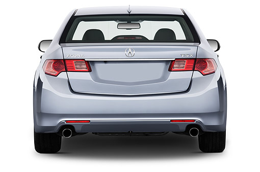 AUT 50 IZ0048 01 © Kimball Stock 2014 Acura TSX 5-Speed 4-Door Sedan Gray Rear View In Studio
