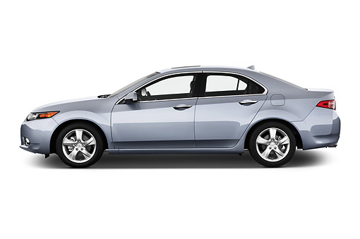 AUT 50 IZ0049 01 © Kimball Stock 2014 Acura TSX 5-Speed 4-Door Sedan Gray Side View In Studio