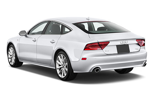 AUT 50 IZ0072 01 © Kimball Stock 2014 Audi A7 3.0t Quattro 4-Door Sedan 3/4 Rear View In Studio