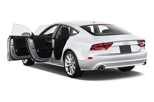 AUT 50 IZ0073 01 © Kimball Stock 2014 Audi A7 3.0t Quattro 4-Door Sedan 3/4 Rear View In Studio