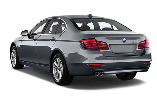 AUT 50 IZ0127 01 © Kimball Stock 2015 BMW 5 Series 528i Sedan 4-Door 3/4 Rear View In Studio