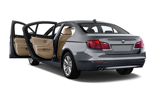 AUT 50 IZ0128 01 © Kimball Stock 2015 BMW 5 Series 528i Sedan 4-Door 3/4 Rear View In Studio