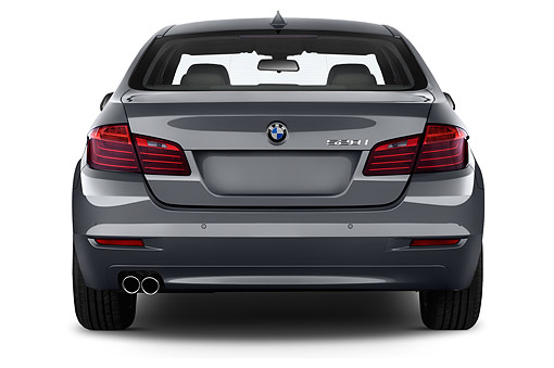 AUT 50 IZ0131 01 © Kimball Stock 2015 BMW 5 Series 528i Sedan 4-Door Rear View In Studio