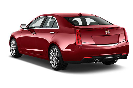 AUT 50 IZ0176 01 © Kimball Stock 2014 Cadillac ATS 2.5L Standard RWD 4-Door Sedan 3/4 Rear View In Studio