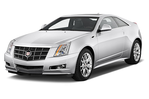 AUT 50 IZ0189 01 © Kimball Stock 2014 Cadillac CTS Coupe RWD Premium Collection 2-Door White 3/4 Front View In Studio