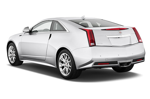 AUT 50 IZ0190 01 © Kimball Stock 2014 Cadillac CTS Coupe RWD Premium Collection 2-Door White 3/4 Front View In Studio