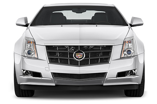 AUT 50 IZ0192 01 © Kimball Stock 2014 Cadillac CTS Coupe RWD Premium Collection 2-Door White Front View In Studio