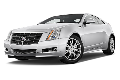 AUT 50 IZ0193 01 © Kimball Stock 2014 Cadillac CTS Coupe RWD Premium Collection 2-Door White 3/4 Front View In Studio