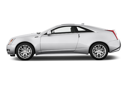 AUT 50 IZ0195 01 © Kimball Stock 2014 Cadillac CTS Coupe RWD Premium Collection 2-Door White Profile View In Studio
