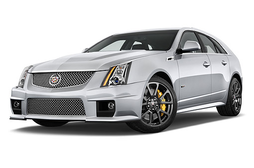 AUT 50 IZ0207 01 © Kimball Stock 2014 Cadillac CTS Sport Wagon V RWD 4-Door 3/4 Front View In Studio
