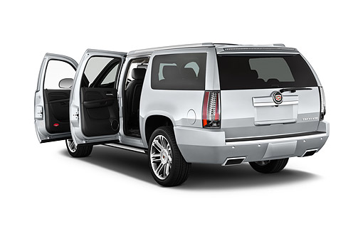 AUT 50 IZ0219 01 © Kimball Stock 2014 Cadillac Escalade ESV 2WD 5-Door SUV 3/4 Rear In Studio