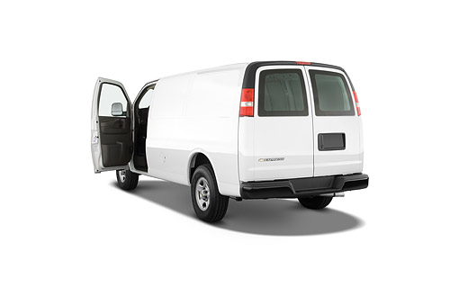 AUT 50 IZ0289 01 © Kimball Stock 2014 Chevrolet Express Cargo Work Van 1500 2-Door 3/4 Rear View In Studio