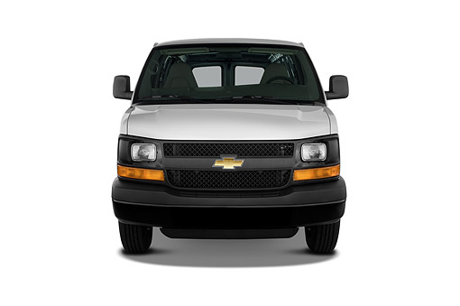 AUT 50 IZ0290 01 © Kimball Stock 2014 Chevrolet Express Cargo Work Van 1500 2-Door Front View In Studio