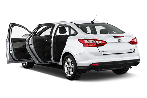 AUT 50 IZ0345 01 © Kimball Stock 2014 Ford Focus Sedan SE 4-Door 3/4 Rear View In Studio