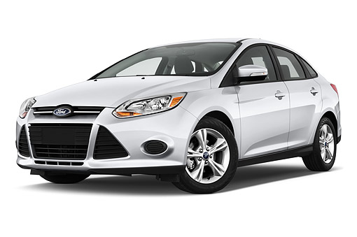 AUT 50 IZ0347 01 © Kimball Stock 2014 Ford Focus Sedan SE 4-Door 3/4 Front View In Studio