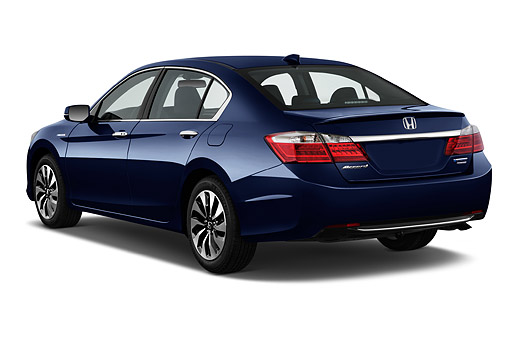 AUT 50 IZ0358 01 © Kimball Stock 2014 Honda Accord Hybrid 4-Door Sedan 3/4 Rear View In Studio
