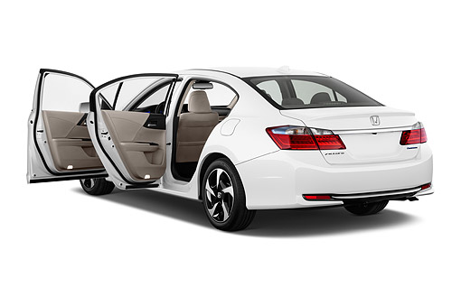 AUT 50 IZ0366 01 © Kimball Stock 2014 Honda Accord Plug-In 4-Door Sedan 3/4 Rear View In Studio