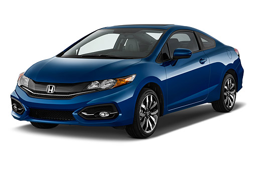 AUT 50 IZ0371 01 © Kimball Stock 2015 Honda Civic Coupe EX-L Automatic 2-Door 3/4 Front View In Studio