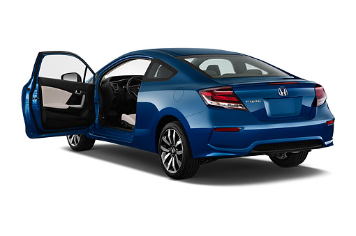 AUT 50 IZ0373 01 © Kimball Stock 2015 Honda Civic Coupe EX-L Automatic 2-Door 3/4 Rear View In Studio