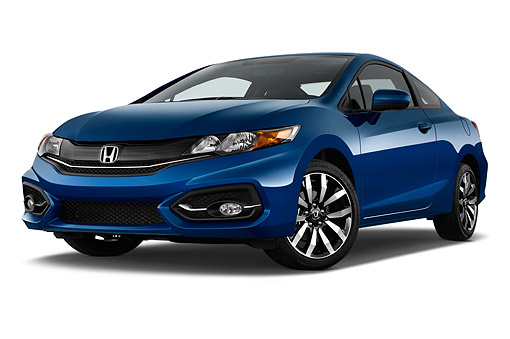 AUT 50 IZ0375 01 © Kimball Stock 2015 Honda Civic Coupe EX-L Automatic 2-Door 3/4 Front View In Studio