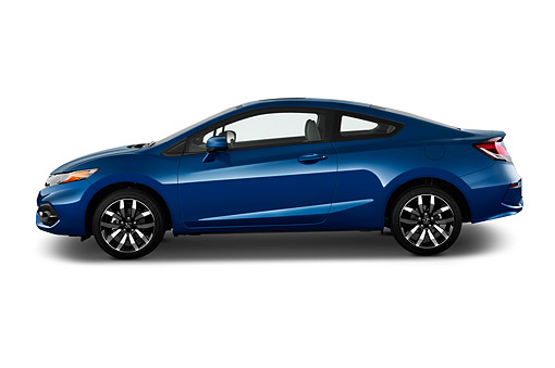 AUT 50 IZ0377 01 © Kimball Stock 2015 Honda Civic Coupe EX-L Automatic 2-Door Profile View In Studio