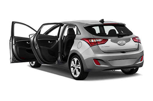 AUT 50 IZ0408 01 © Kimball Stock 2015 Hyundai Elantra GT 1.8 6 Speed AT 5-Door Hatchback 3/4 Rear View In Studio
