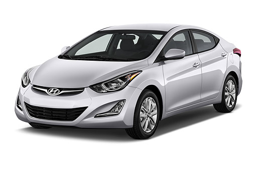 AUT 50 IZ0414 01 © Kimball Stock 2014 Hyundai Elantra SE 4-Door Sedan 3/4 Front View In Studio