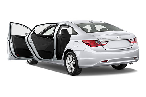 AUT 50 IZ0452 01 © Kimball Stock 2014 Hyundai Sonata Limited I4 AT 4-Door Sedan 3/4 Rear View In Studio