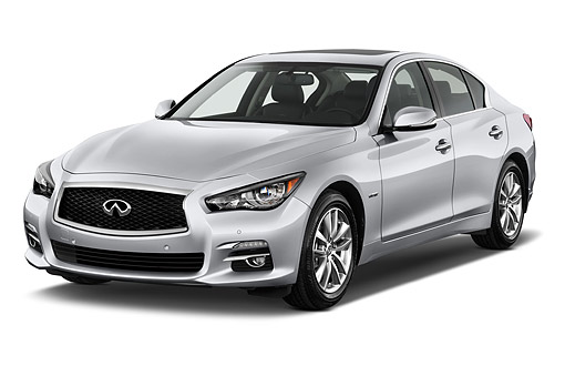 AUT 50 IZ0464 01 © Kimball Stock 2015 Infiniti Q50 Hybrid Sport 4-Door Sedan 3/4 Front View In Studio