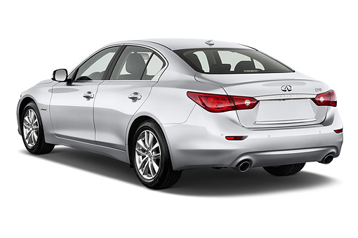 AUT 50 IZ0465 01 © Kimball Stock 2015 Infiniti Q50 Hybrid Sport 4-Door Sedan 3/4 Rear View In Studio