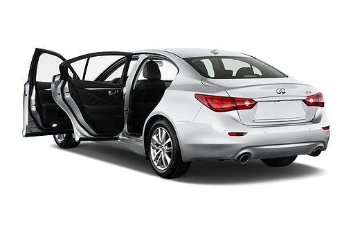 AUT 50 IZ0466 01 © Kimball Stock 2015 Infiniti Q50 Hybrid Sport 4-Door Sedan 3/4 Rear View In Studio