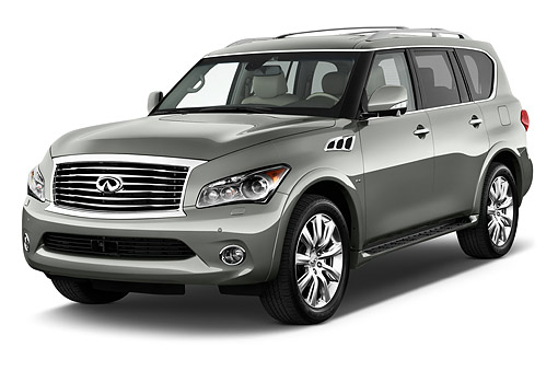 AUT 50 IZ0541 01 © Kimball Stock 2015 Infiniti QX80 3.5 5-Door SUV 3/4 Front View In Studio