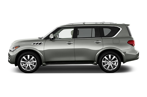 AUT 50 IZ0545 01 © Kimball Stock 2015 Infiniti QX80 3.5 5-Door SUV Profile View In Studio