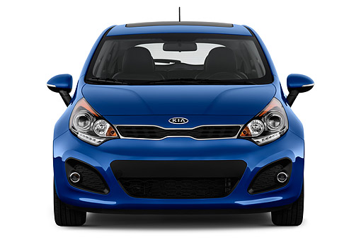 AUT 50 IZ0648 01 © Kimball Stock 2014 Kia Rio5 AT SX 5-Door Hatchback Front View In Studio