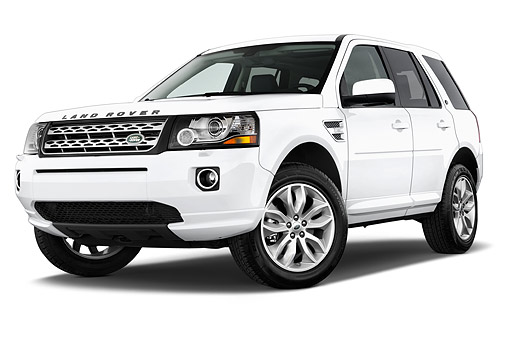 AUT 50 IZ0679 01 © Kimball Stock 2014 Land Rover LR2 Base 5-Door SUV 3/4 Front View In Studio