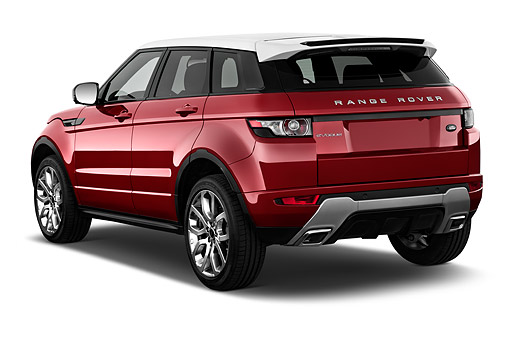 AUT 50 IZ0688 01 © Kimball Stock 2015 Land Rover Range Rover Evoque Pure 5-Door SUV 3/4 Rear View In Studio