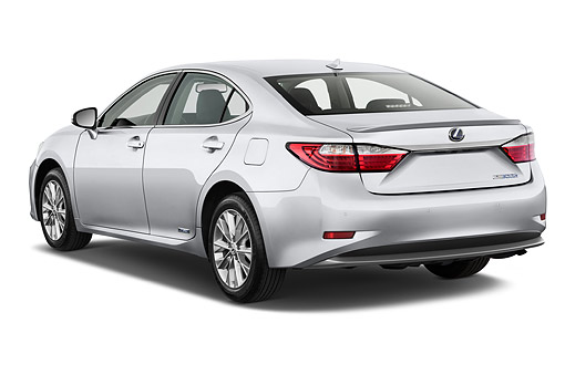 AUT 50 IZ0695 01 © Kimball Stock 2015 Lexus ES 300h 4-Door Sedan 3/4 Rear View In Studio