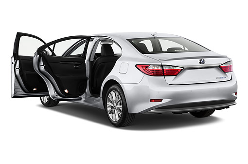 AUT 50 IZ0696 01 © Kimball Stock 2015 Lexus ES 300h 4-Door Sedan 3/4 Rear View In Studio