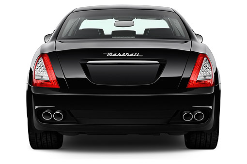 AUT 50 IZ0803 01 © Kimball Stock 2015 Maserati Quattroporte 4-Door Sedan Rear View In Studio